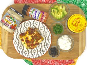 Taco lasagna with toppings